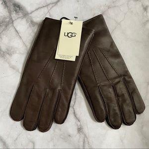 UGG brown leather Metisse Tabbed Vent Tech Gloves